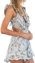 Berrygo Women's Boho Backless Deep V Neck Cut Out Waist Ruffle Floral Print Short Jumpsuit Romper Playsuit