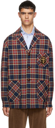 Gucci Red and Blue Check Wool Crest Jacket