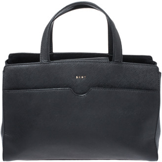 DKNY Black Leather Front Pocket Satchel