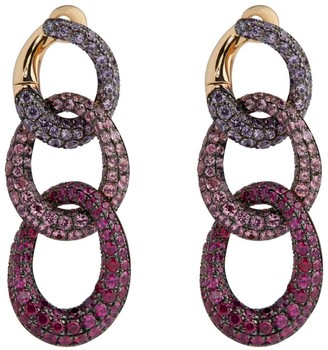 Pomellato Rose Gold, Sapphire And Ruby Tango Drop Earrings