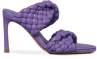Bottega Veneta Padded Woven Leather Sandals in Purple | FWRD