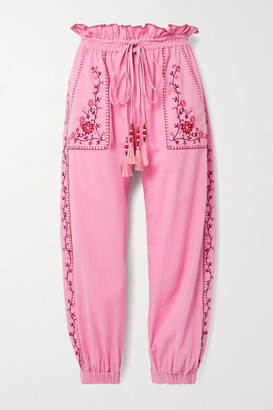 LoveShackFancy Saunders Embroidered Cotton-voile Track Pants - Pink