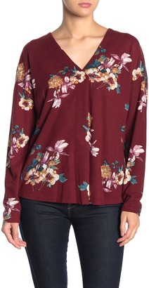 Lush Floral Long Sleeve V-Neck Top