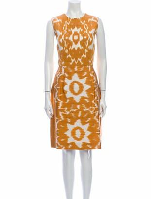 Oscar de la Renta Printed Knee-Length Dress Gold