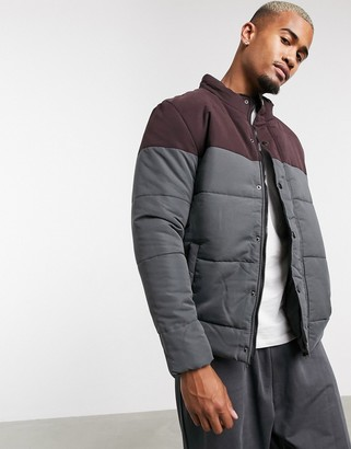 Soul Star cut and sew jacket with funnel neck in gray and burgundy