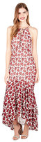 Betsey Johnson Rosey Lace Up High Low Maxi Dress