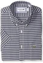 Lacoste Men's Short Sleeve With Pocket Gingham Poplin Regular Fit Woven Shirt, CH9608