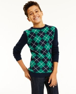 Charter Club Big Boys Argyle Sweater, Created for Macy's