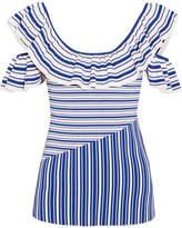 Rebecca Vallance Corsica Cold-shoulder Ruffled Striped Stretch-knit Top - Navy