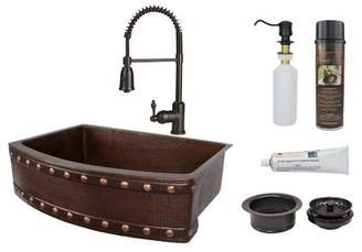 "Premier Copper Products 30"" L x 24"" W Farmhouse Kitchen Sink with Faucet Premier Copper Products"