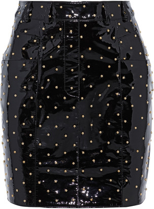 Balmain Studded Patent-leather Mini Skirt
