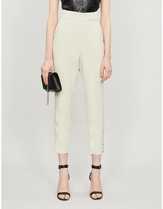 Lavish Alice Corset-detail high-rise woven tapered trousers