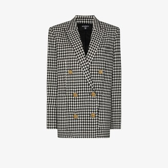 Balmain Dogtooth Print Wool Blazer