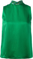 L'Autre Chose embellished high neck sleeveless top - women - Silk/PVC/glass - 42