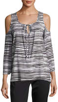 MICHAEL Michael Kors Cold-Shoulder Tie-Front Blouse, Gray Pattern