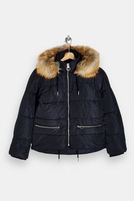 Topshop Navy Faux Fur Hooded Padded Puffer Jacket
