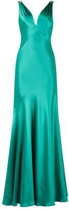 Jovani Drape Back Satin Embellished Gown