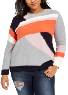 1 STATE Trendy Plus Size Cotton Colorblocked Sweater