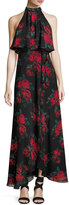Lovers + Friends Golden Ray Rose-Print Chiffon Maxi Dress, Red Pattern