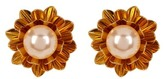 Carolee Simulated Pearl Flower Clip-On Earrings