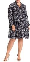 MelloDay Long Sleeve Tie Neck Printed Babydoll Dress (Plus Size)