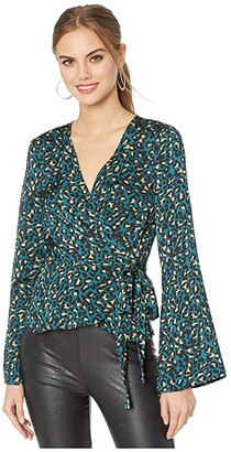 BCBGeneration Wrap Blouse TJQ1260544 (Teal) Women's Clothing