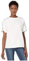 Lacoste Short Sleeve Fluid Cotton Blouse w/ Striped Sleeves (Flour/Navy Blue/King/Raffia Matting) Women's Clothing