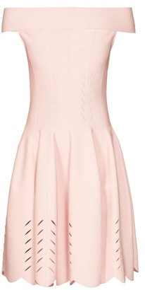 Alexander McQueen Off-the-shoulder Knitted Dress - Womens - Light Pink