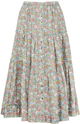 Marc Jacobs Floral-print cotton midi skirt