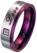 "Aooaz Free Engraveing Ring For Women CZ ""Love You"" 6mm Size 8 Wedding Promise Novelty"