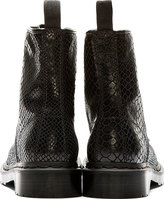 Dr. Martens Black Hi Shine Snakeskin-Print 1460 8-Eye Boots