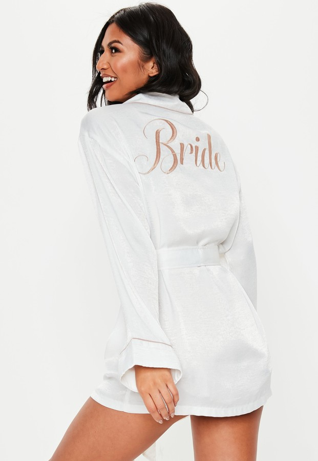 Missguided White Satin Embroidery Bride Dressing Gown