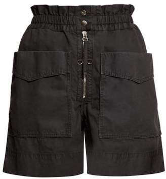 Etoile Isabel Marant Lizy Straight Leg Cotton Shorts - Womens - Black