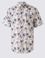 M&S Collection Pure Cotton Printed Shirt with Pocket