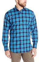 Thomas Dean Men's 1 Button SPRD Collar Twill Check