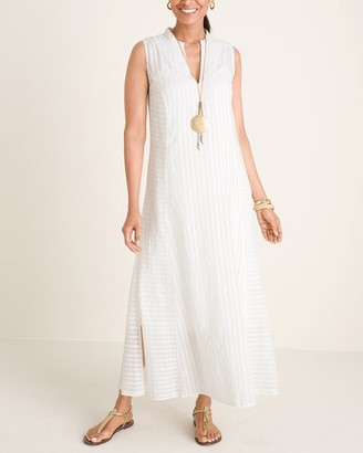 Chico's Embroidered Textured Maxi Dress