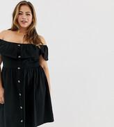 Asos DESIGN Curve mini button through sundress with tiered skirt
