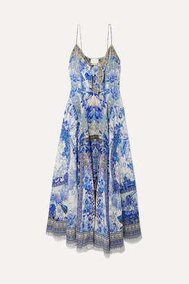 Camilla Knotted Embellished Printed Silk Crepe De Chine Maxi Dress - Bright blue