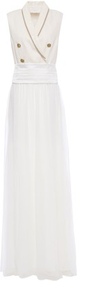 Brunello Cucinelli Embellished Herringbone Cotton And Linen-blend And Silk-chiffon Gown