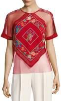 Tadashi Shoji Women's Floral Tulle Top