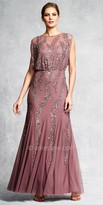 Aidan Mattox Vine Beaded Blouson Evening Dress