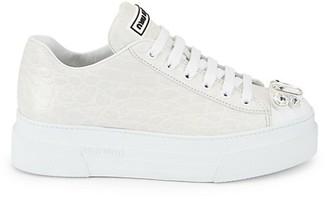 Miu Miu Jewelled Cap-Toe Croc-Embossed Leather Platform Sneakers