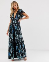 Asos Design DESIGN maxi dress with godet lace inserts in black based floral print