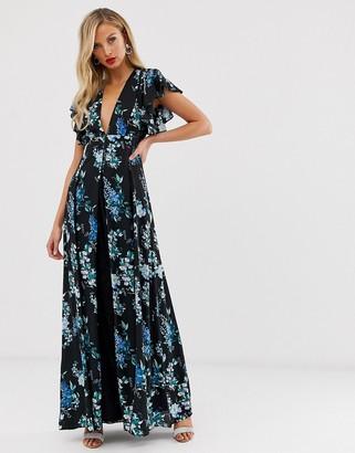 Asos Design DESIGN maxi dress with godet lace inserts in black based floral print