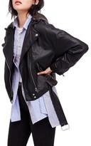 Free People Women's Drapey Faux Leather Moto Jacket