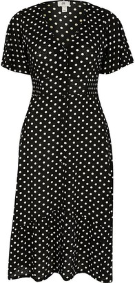River Island Petite black printed button midi dress