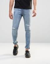Cheap Monday Tight Skinny Jeans Vac Distress Repair