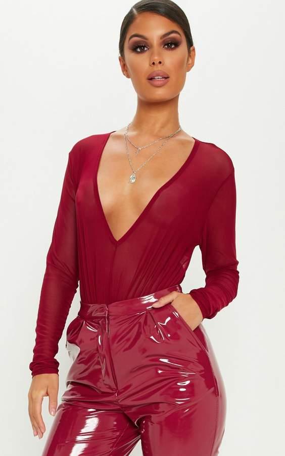 PrettyLittleThing Burgundy Plunge Mesh Long Sleeve Bodysuit
