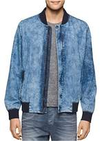 Calvin Klein Jeans Men's Wave Wash Denim Bomber Jacket