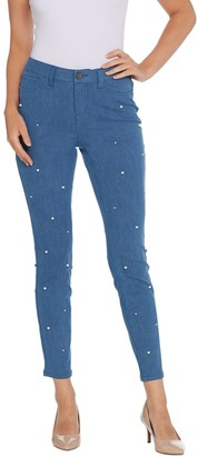 G.I.L.I. Dual Stretch Denim Jeggings with Faux Pearls